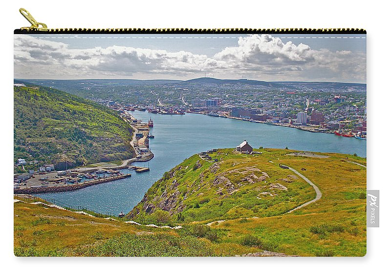 Harbour View From Signal Hill National Historic Site In Saint John's Carry-all Pouch featuring the photograph Harbour View From Signal Hill National Historic Site In Saint John's-nl by Ruth Hager