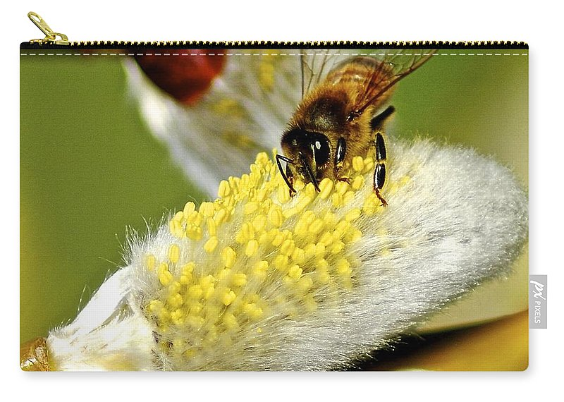 Flower Carry-all Pouch featuring the photograph Hard At Work by Frozen in Time Fine Art Photography