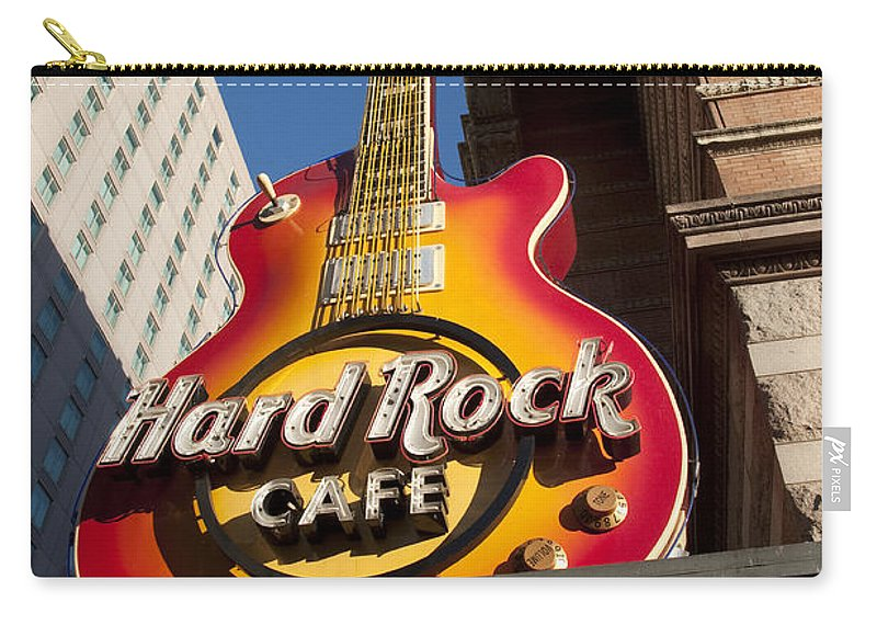 Hard Rock Cafe Guitar Sign In Philadelphia Carry-all Pouch featuring the photograph Hard Rock Cafe Guitar Sign In Philadelphia by Bill Cannon