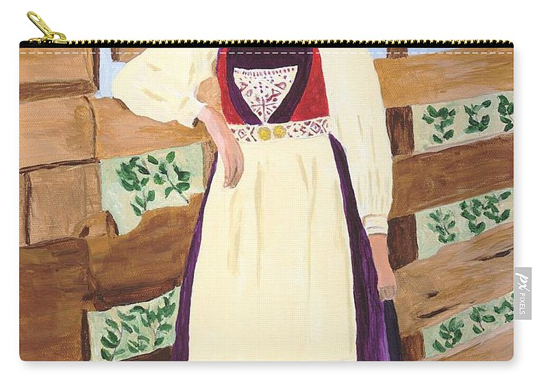Girl Carry-all Pouch featuring the painting Hardanger Girl by Rodney Campbell