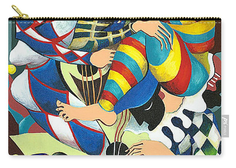 Canvas Prints Carry-all Pouch featuring the painting Harlequins Acting Weird - Why?... by Elisabeta Hermann