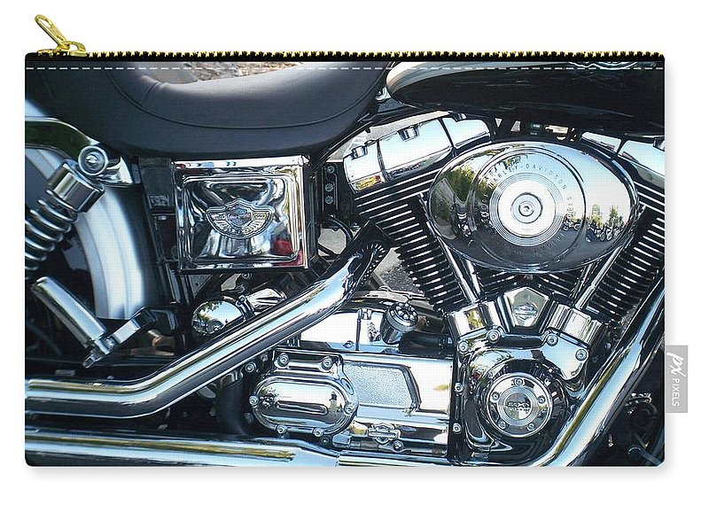 Motorcycles Carry-all Pouch featuring the photograph Harley Black And Silver Sideview by Anita Burgermeister