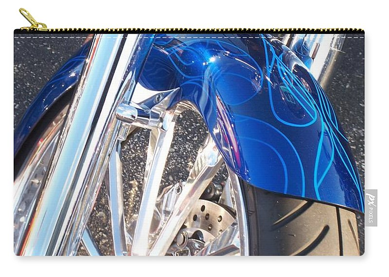 Motorcycles Carry-all Pouch featuring the photograph Harley Close-up Blue Flame by Anita Burgermeister