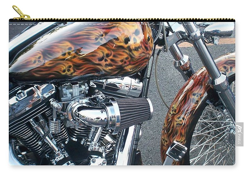 Motorcycles Carry-all Pouch featuring the photograph Harley Close-up Skull Flame by Anita Burgermeister