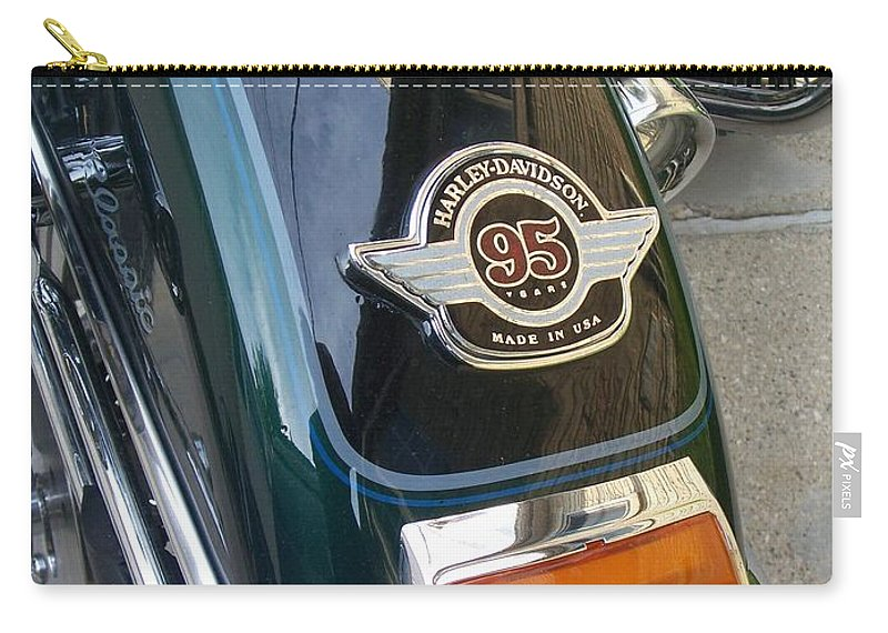 Motorcycles Carry-all Pouch featuring the photograph Harley Close-up Tail Light by Anita Burgermeister