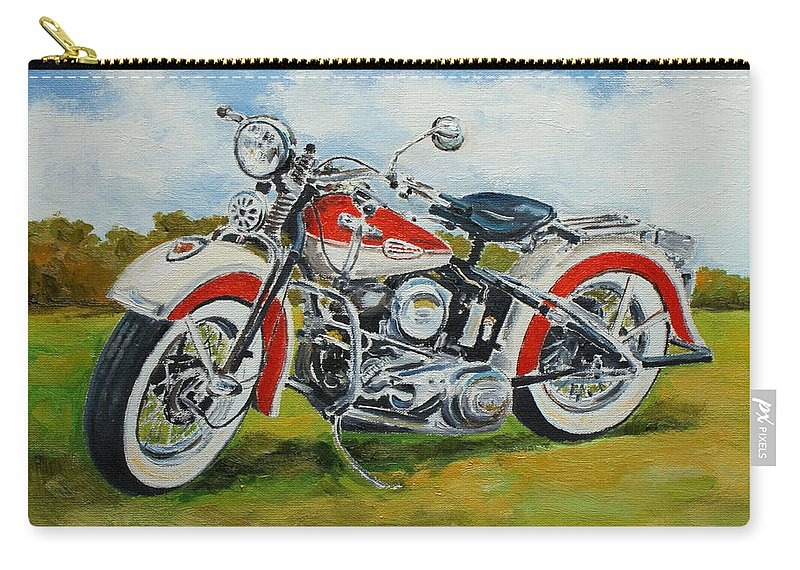 Harley Carry-all Pouch featuring the painting Harley Davidson 1943 by Luke Karcz