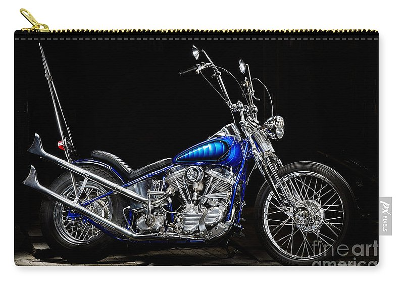 Motorcycle Carry-all Pouch featuring the photograph Harley-davidson Panhead Chopper From The Wild Angels by Frank Kletschkus