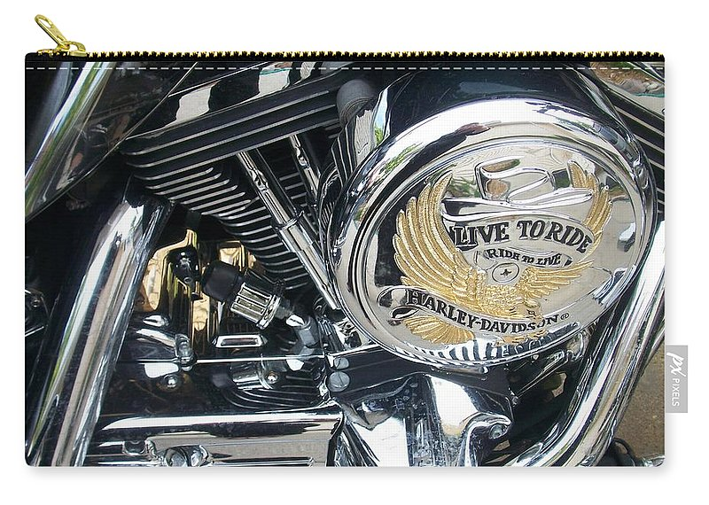 Motorcycles Carry-all Pouch featuring the photograph Harley Live To Ride by Anita Burgermeister