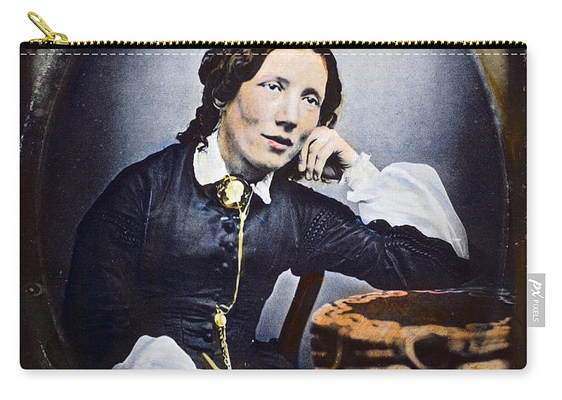 1852 Carry-all Pouch featuring the photograph Harriet Beecher Stowe (1811-1896). American Abolitionist And Writer. Oil Over A Daguerrotype, C1852 by Granger