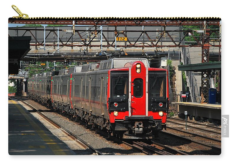 Metro-north Carry-all Pouch featuring the photograph Harrison Station Express by Kurt Von Dietsch