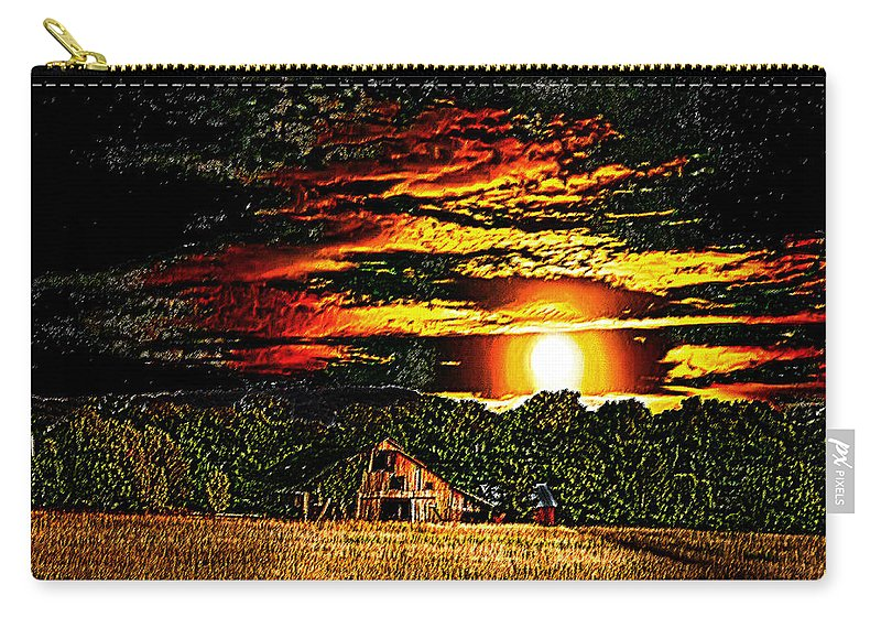 Photoart Carry-all Pouch featuring the photograph Harvest Moon And Late Barn by Randall Branham