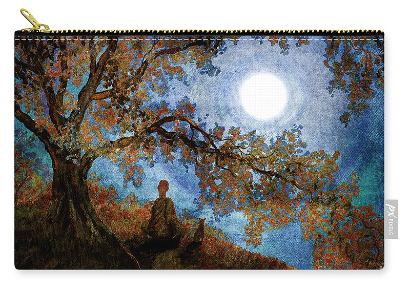 Zen Carry-all Pouch featuring the digital art Harvest Moon Meditation by Laura Iverson