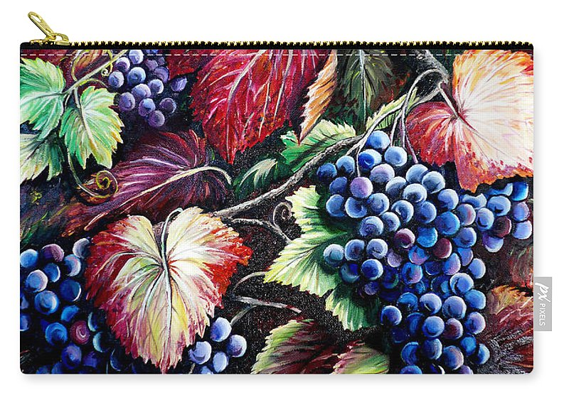 Grapes Painting Carry-all Pouch featuring the painting Harvest Time by Karin Dawn Kelshall- Best