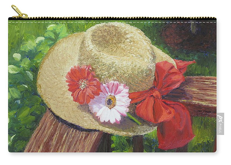 Flowers Carry-all Pouch featuring the painting Hat with Flowers by Lea Novak