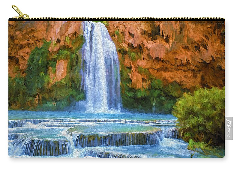 Fine Art Carry-all Pouch featuring the painting Havasu Falls by David Wagner