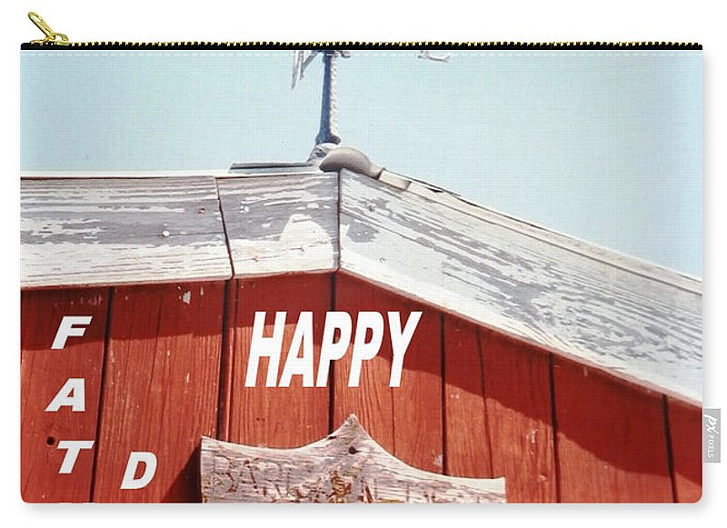 #rooster #weather Vane On Top Of An #old #red Carry-all Pouch featuring the photograph Country Fathers Day by Belinda Lee