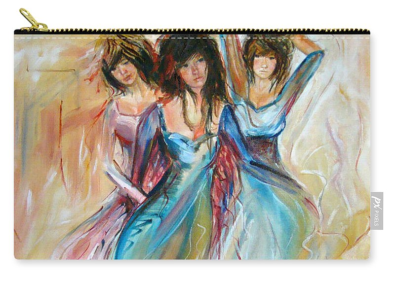 Contemporary Art Carry-all Pouch featuring the painting Having Fun by Silvana Abel