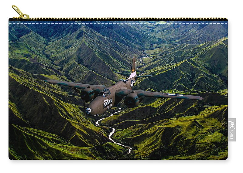 Bomber Carry-all Pouch featuring the digital art Havoc In The Pacific by Tommy Anderson