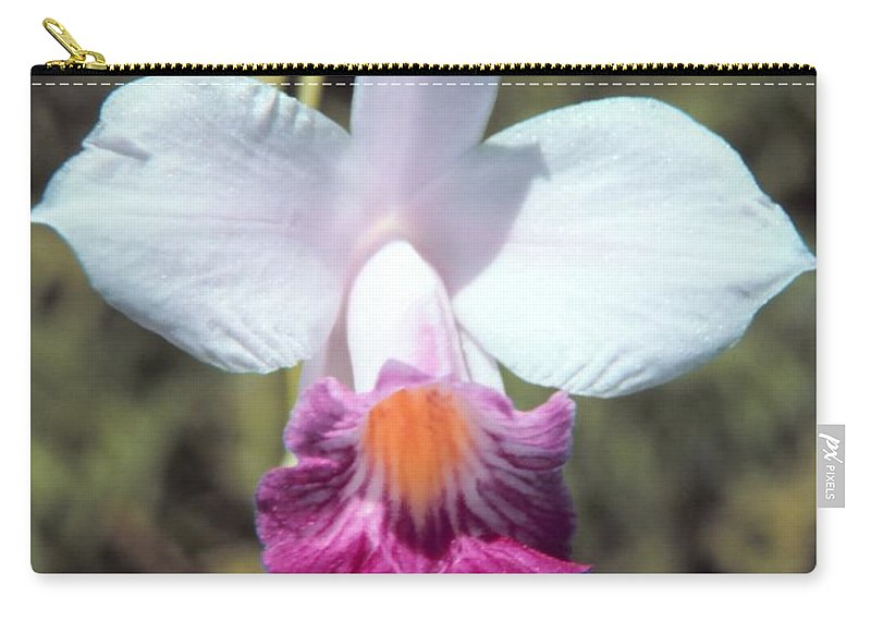 Hawaiian Orchid Carry-all Pouch featuring the digital art Hawaiian Orchid by John Bortniak