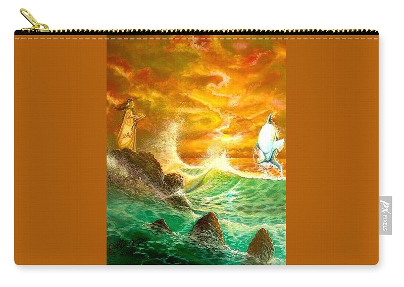 Hawaii Seascape Carry-all Pouch featuring the painting Hawaiian Spirit Seascape by Leland Castro