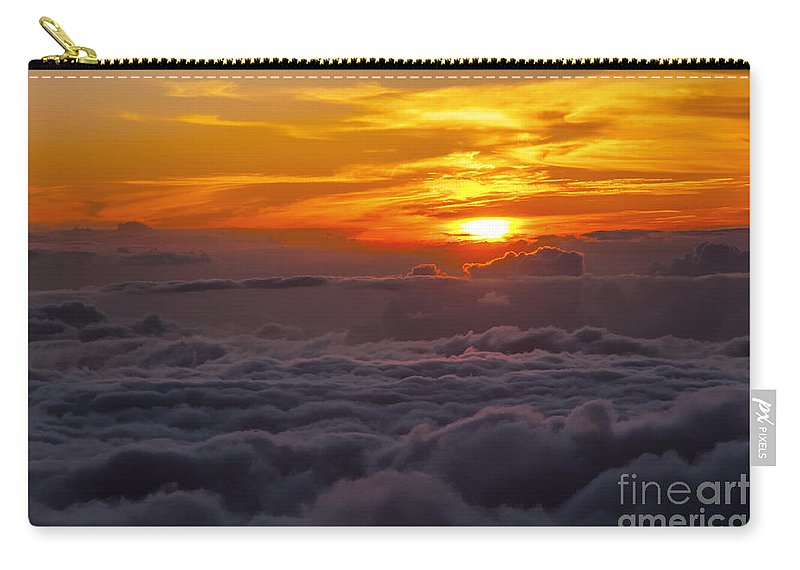Haleakala National Park Volcano Area Maui Hawaii Evening Sky Skies Cloud Clouds Sunset Sunsets Sun Cloud Clouds Parks Carry-all Pouch featuring the photograph Evening Colors by Bob Phillips