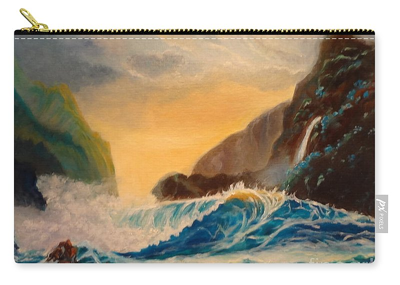 Turquoise Carry-all Pouch featuring the painting Hawaiian Turquoise Sunset  Copyright by Jenny Lee