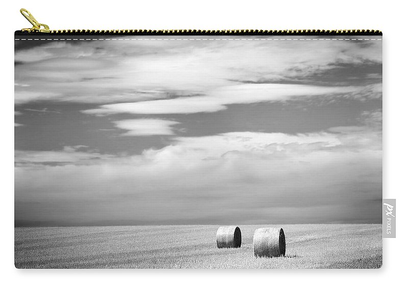 Farm Carry-all Pouch featuring the photograph Hay Bales Black And White by Tim Hester