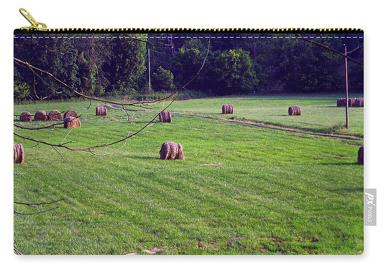 Landscape Carry-all Pouch featuring the digital art Hay Field by Chris Flees