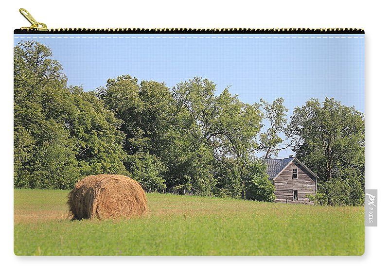 Hay Field Carry-all Pouch featuring the photograph Haying Season At Captain Ed's Homestead by Penny Meyers