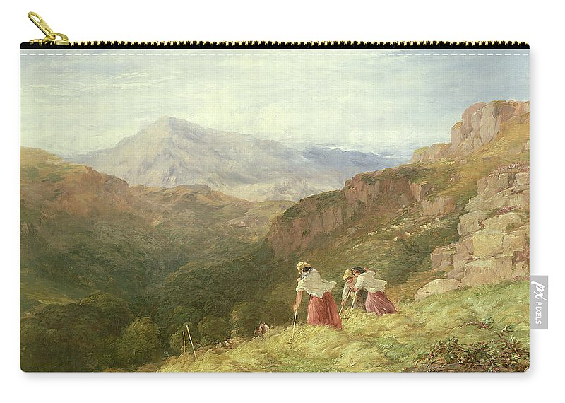 Mountain Carry-all Pouch featuring the painting Haymaking, Snowdon, 1847 by David Cox