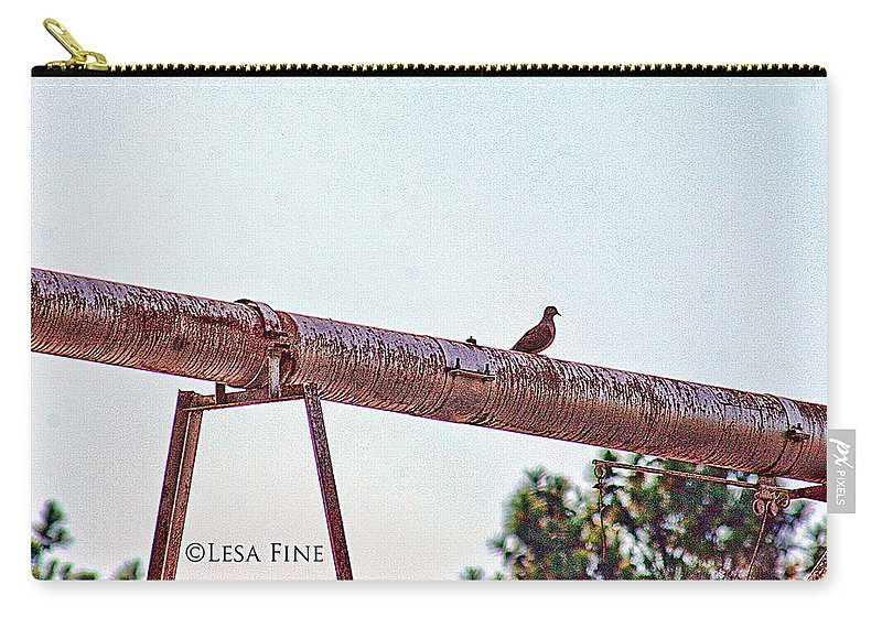 Dove Carry-all Pouch featuring the photograph Hdr Dove On A Pipe by Lesa Fine