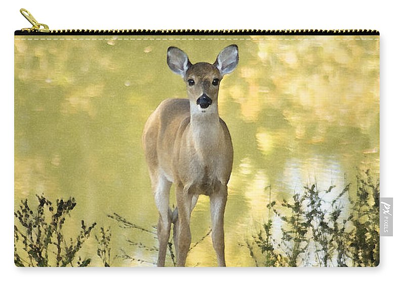 Deer Carry-all Pouch featuring the photograph He Makes My Feet Like The Feet Of Deer by Kathy Clark
