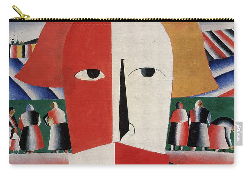 Head; Face; Peasant; Pesants; Worker; Workers; Working; Proletariat; Aeroplane; Aeroplanes; Airplane; Airplanes; Plane; Planes; Stylised; Primitive; Geometry; Geomtetric; Cubo-futurism; Cubo-futurist; Suprematist; Suprematism;black Carry-all Pouch featuring the painting Head Of A Peasant by Kazimir Malevich