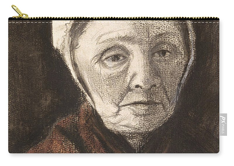 Vincent Van Gogh Carry-all Pouch featuring the drawing Head Of An Old Woman In A Scheveninger by Vincent van Gogh