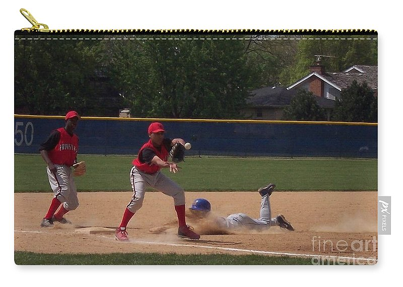 Sports Carry-all Pouch featuring the photograph Head Slide In Baseball by Thomas Woolworth