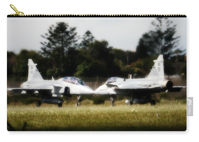 Saab Jas 39 Gripen Carry-all Pouch featuring the photograph Head To Head by Paul Job