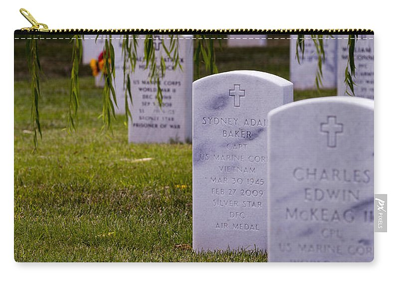 Arlington Carry-all Pouch featuring the photograph Headstones Of Arlington Cemetery by B Christopher