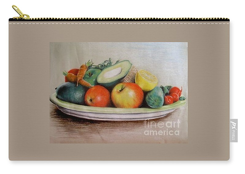 Fruit Carry-all Pouch featuring the pastel Healthy Plate by Katharina Filus