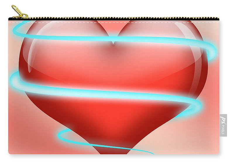 Neon Heart Carry-all Pouch featuring the digital art Hearbeat 1 by Ma Bu