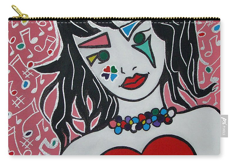 Pop-art Carry-all Pouch featuring the painting Heart Bit by Silvana Abel