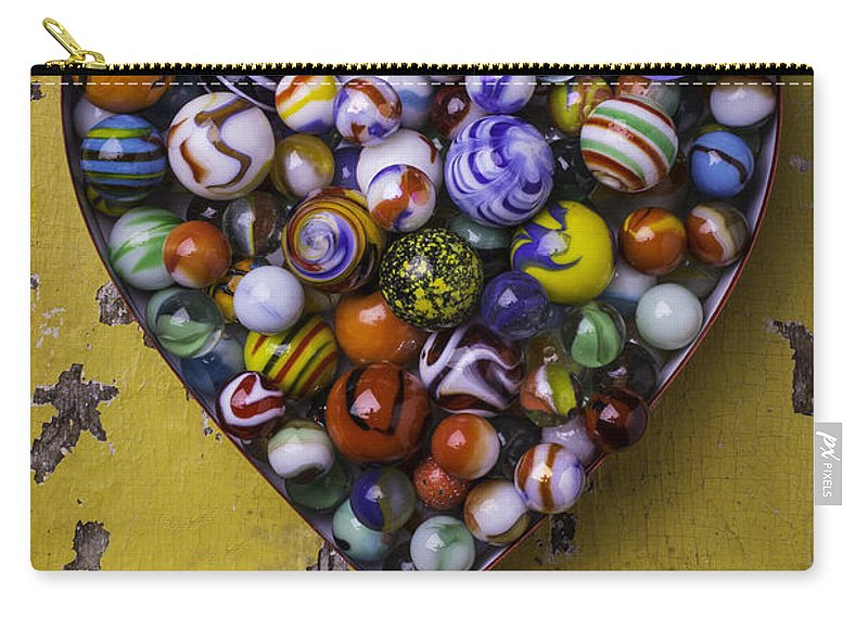 Marbles Carry-all Pouch featuring the photograph Heart Box Full Of Marbles by Garry Gay