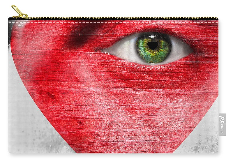 Art Carry-all Pouch featuring the photograph Heart Face by Semmick Photo