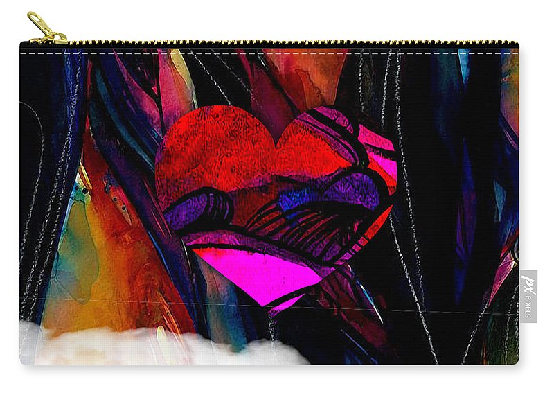 Heart Carry-all Pouch featuring the mixed media Heart Floating Above Clouds by Marvin Blaine