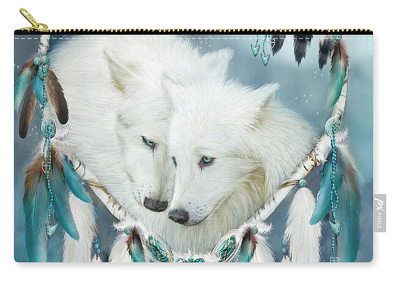 Carol Cavalaris Carry-all Pouch featuring the mixed media Heart Of A Wolf by Carol Cavalaris