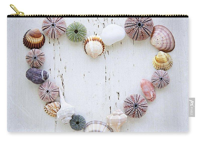 Heart Carry-all Pouch featuring the photograph Heart Of Seashells And Rocks by Elena Elisseeva