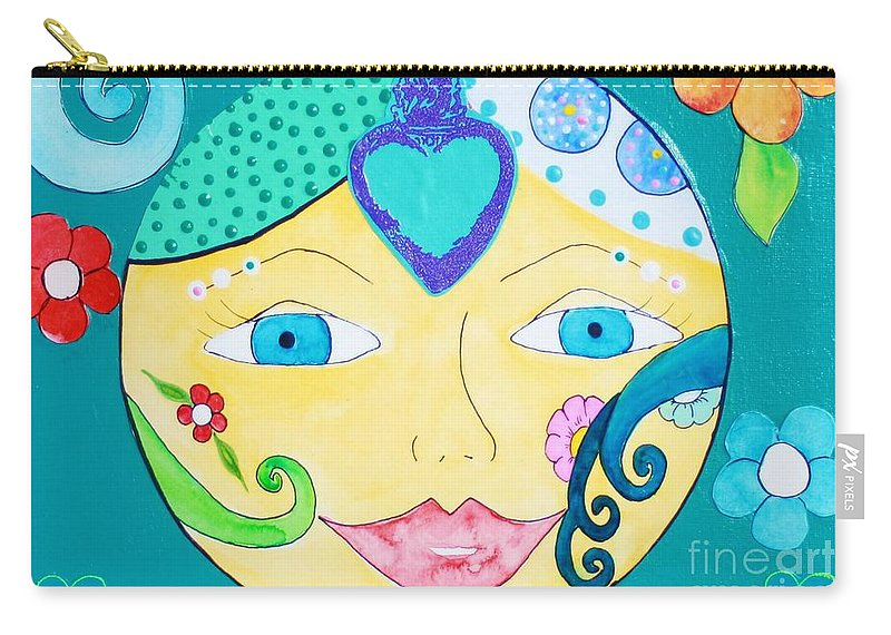 Sun Carry-all Pouch featuring the painting Heart Sun by Melinda Etzold