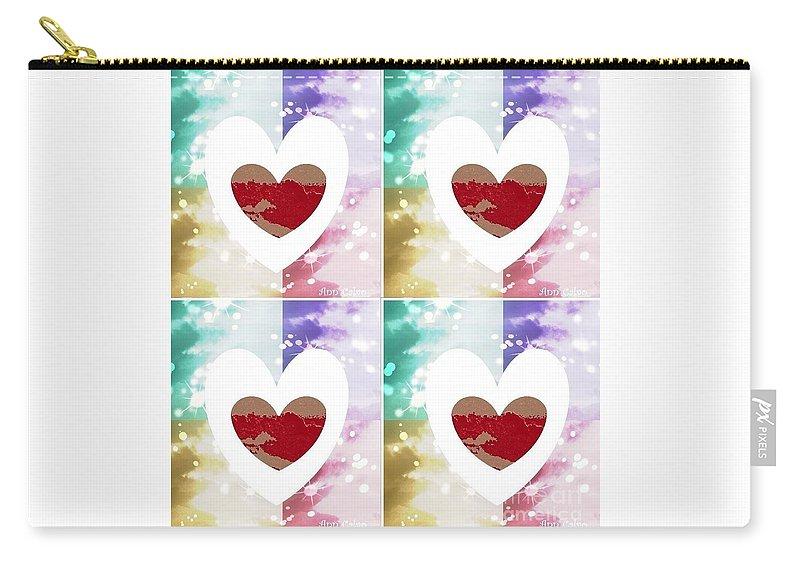 Heart Carry-all Pouch featuring the digital art Heartful by Ann Calvo