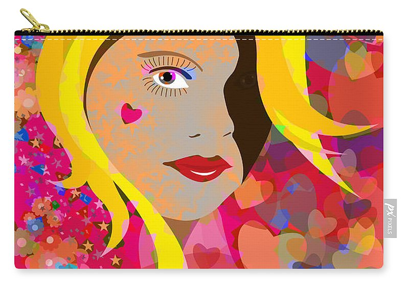 Girl Carry-all Pouch featuring the painting Hearts And Flowers by Neil Finnemore