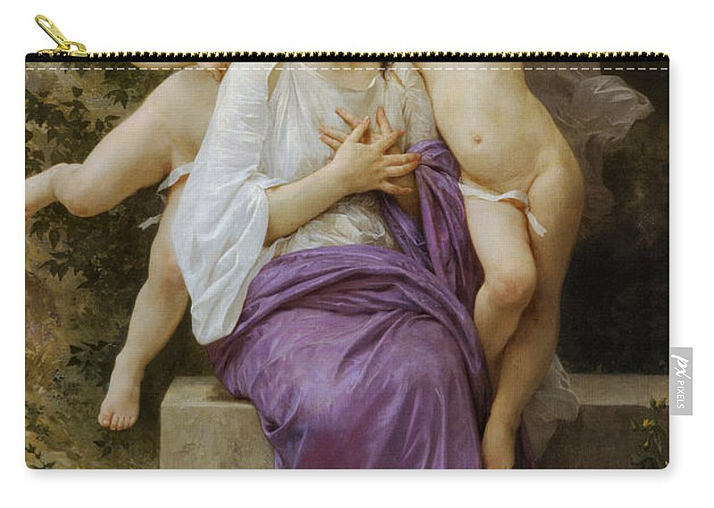 Heart's Awskening Carry-all Pouch featuring the digital art Heart's Awskening by William Bouguereau