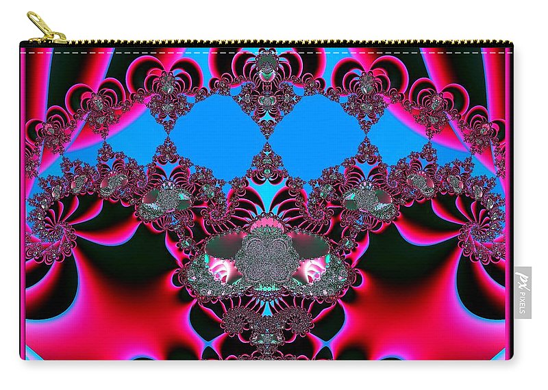 Hearts Carry-all Pouch featuring the digital art Hearts Ballet Curtain Call Fractal 121 by Rose Santuci-Sofranko